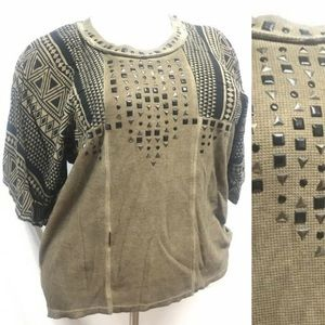 Vocal black and brown studded boxy style top sz L